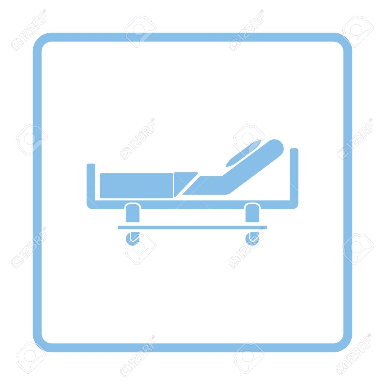 Icono De Cama De Hospital. Diseño De Marco Azul. Ilustración ...