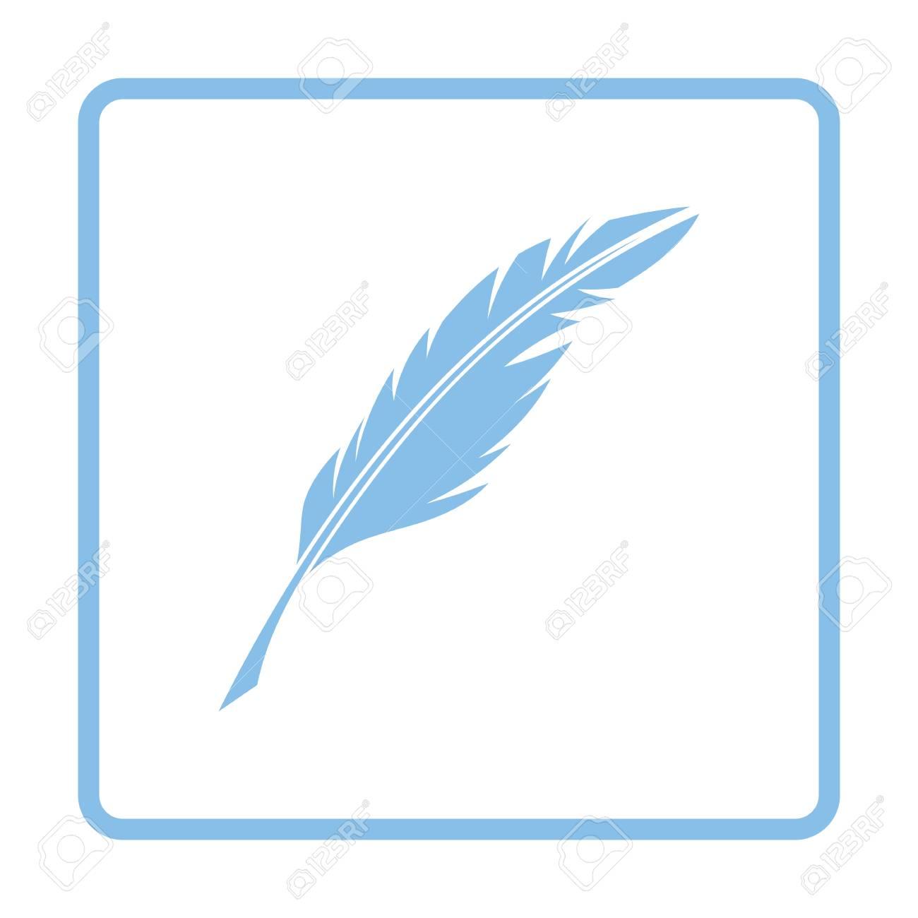 Escribir El Icono De Pluma. Diseño De Marco Azul. Ilustración ...