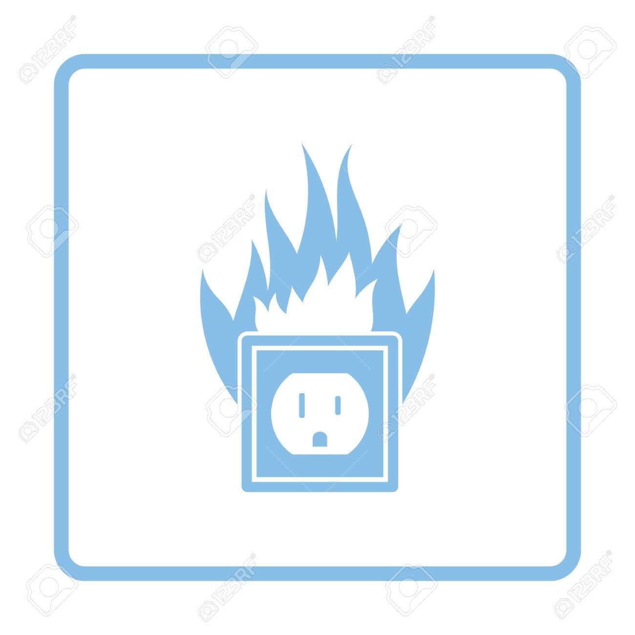 Icono De Fuego De Salida Eléctrica. Diseño De Marco Azul ...