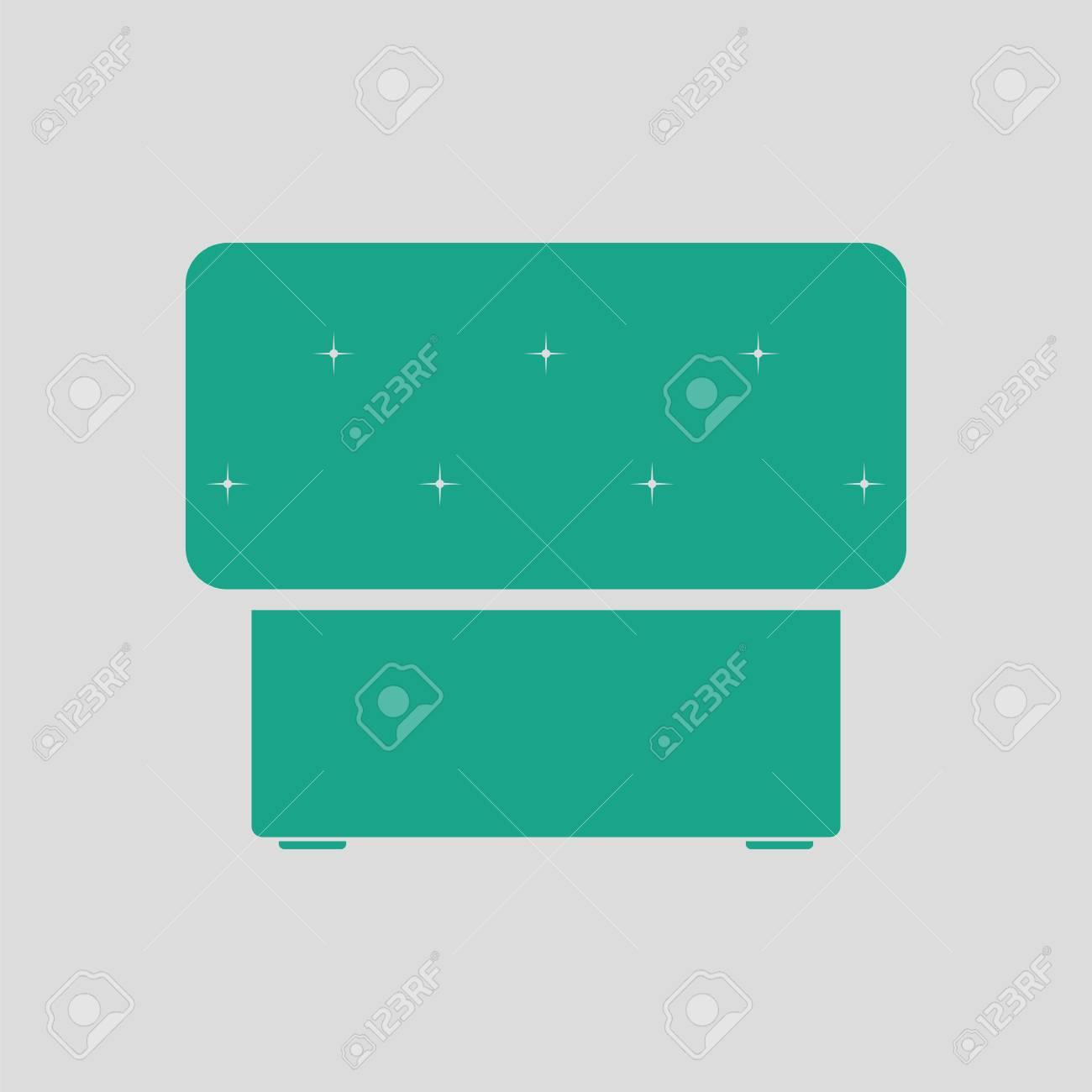 Banque Du0027images   Icône De Pouf De Chambre à Coucher. Fond Gris Avec Du Vert.  Illustration Vectorielle