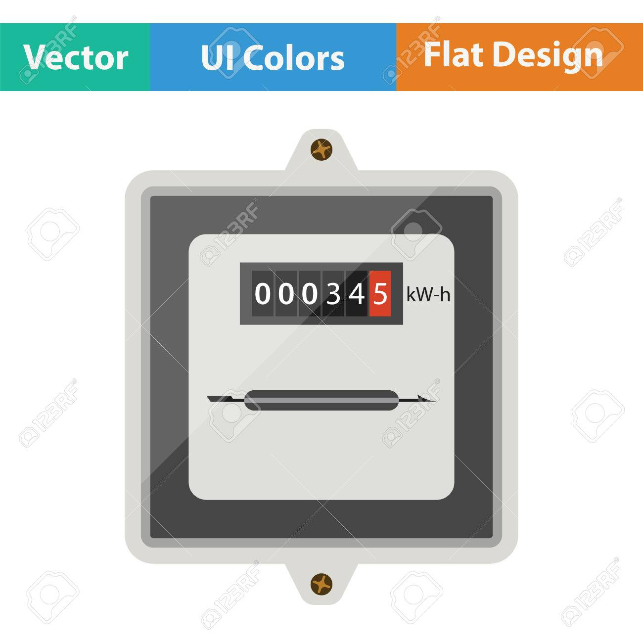 Electric Meter Icon. Flat Design. Vector Illustration. Royalty Free ...