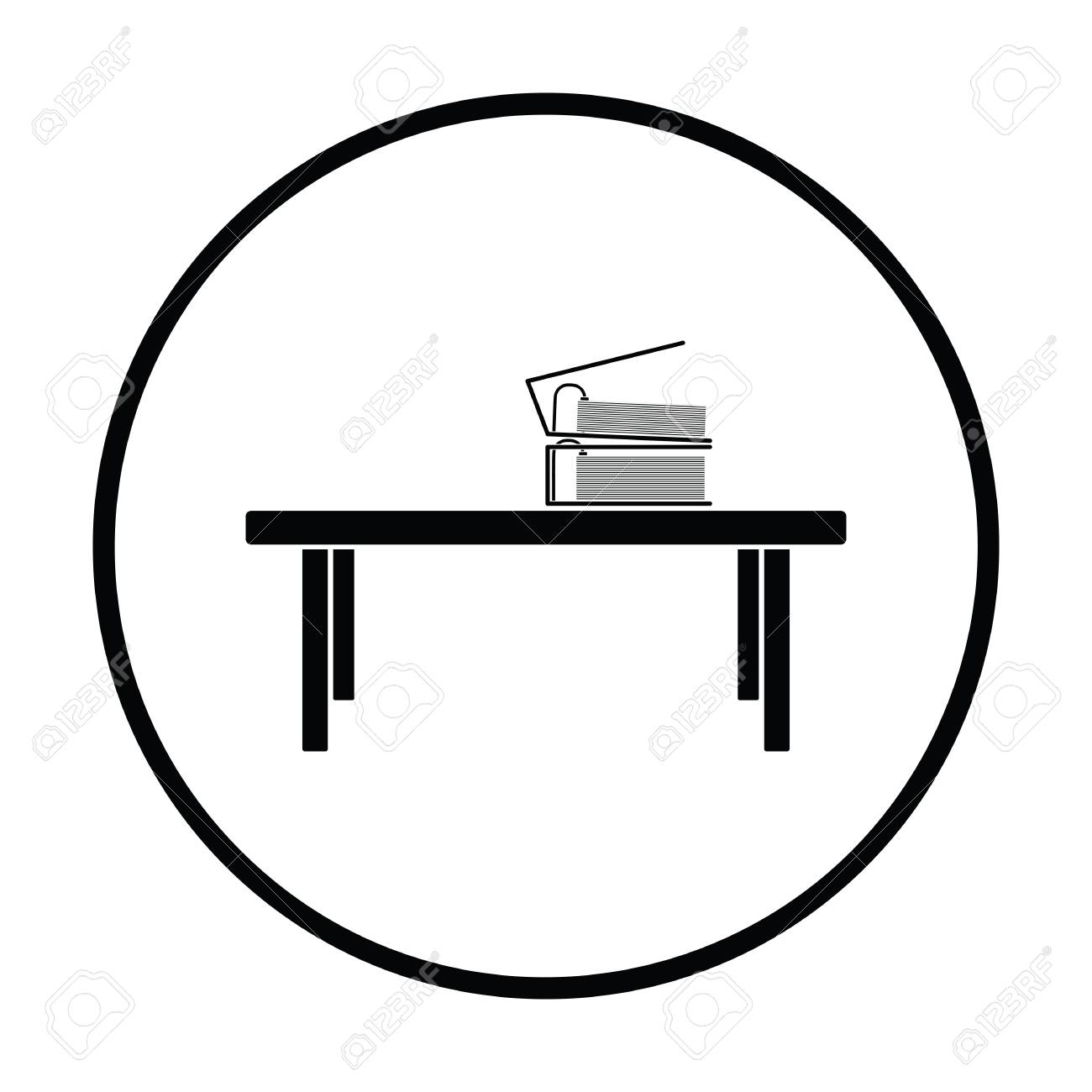 Icono De Mesa Baja De Oficina. Diseño De Círculo Fino. Ilustración ...