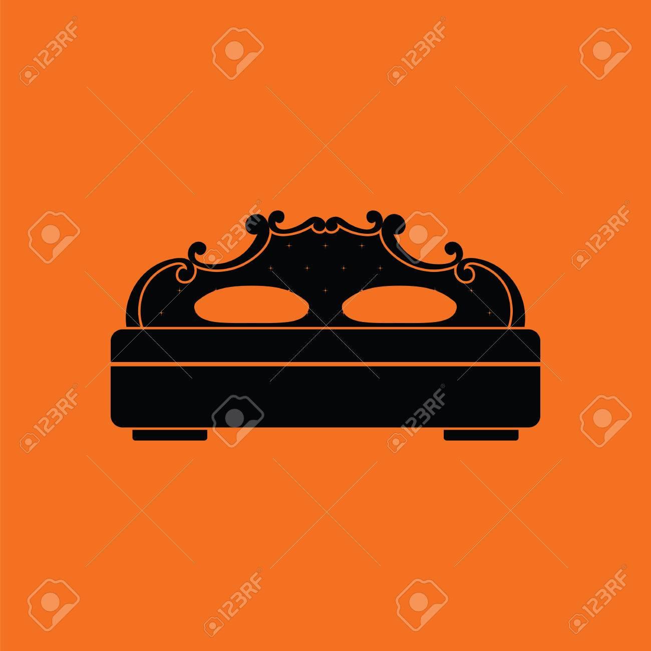 Icono De Cama King-size. Fondo Naranja Con Negro. Ilustración ...