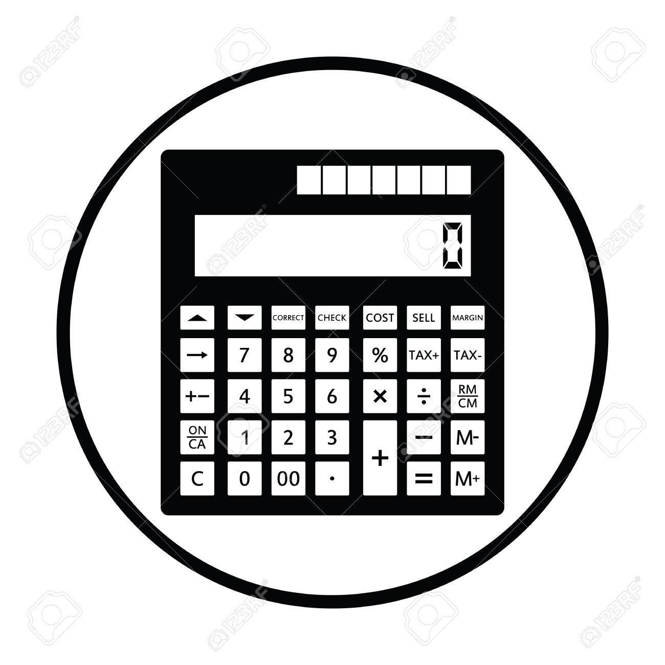 Statistisches Taschenrechnersymbol. Dünner Kreisentwurf. Vektor ...