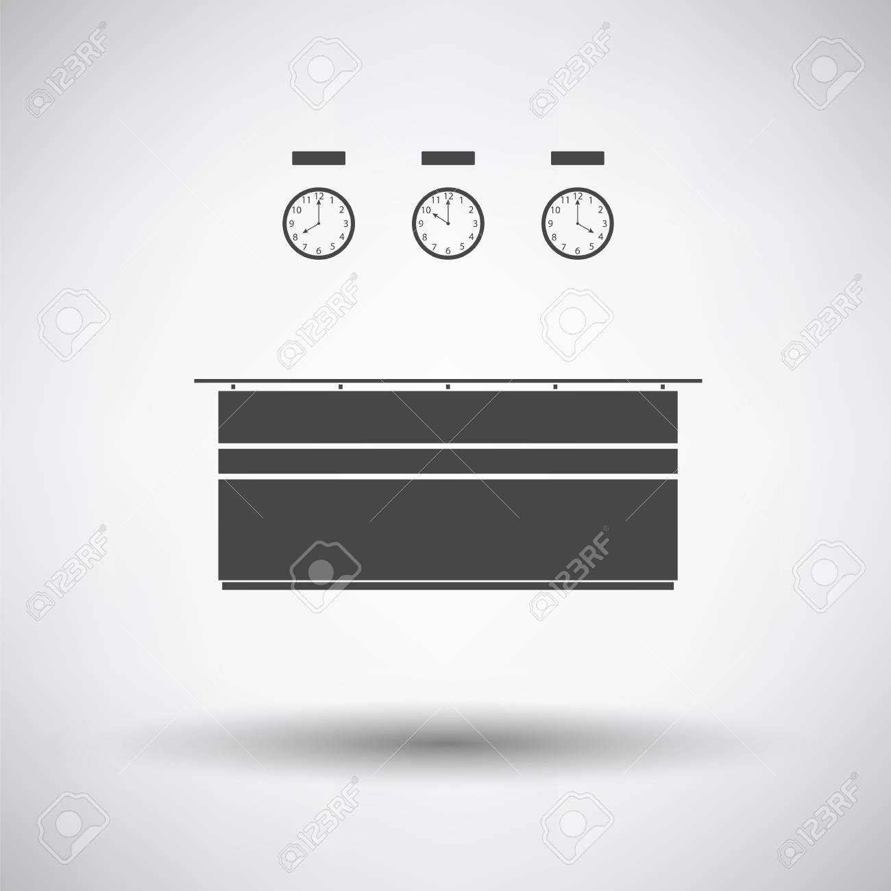 office reception desk. Office Reception Desk Icon On Gray Background, Round Shadow. Vector Illustration. Stock