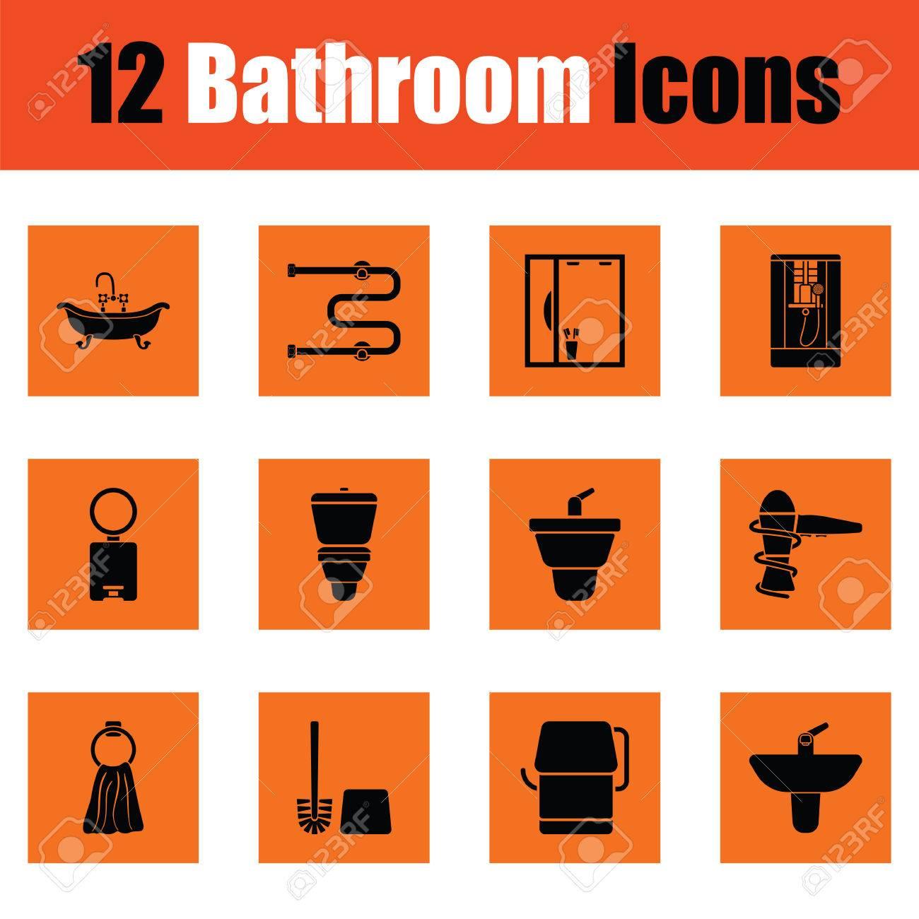 conjunto de iconos de baño. diseño naranja. ilustración del vector