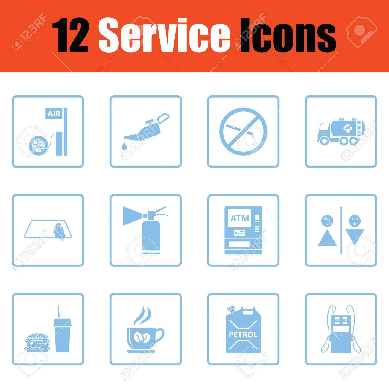 Set of twelve Petrol station icons. Blue frame design. Vector illustration. - 80718450