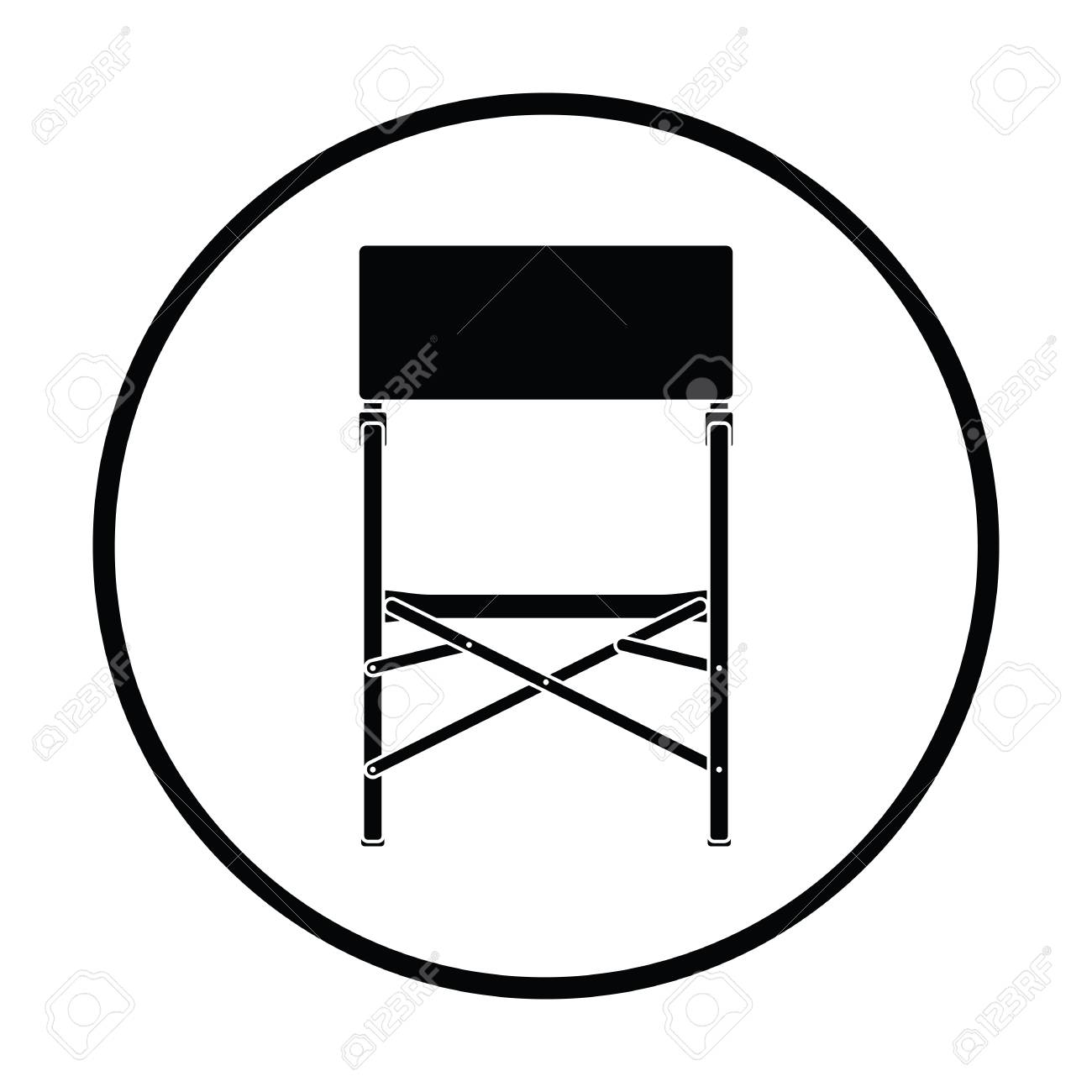 Superb Icon Of Fishing Folding Chair Thin Circle Design Vector Illustration Caraccident5 Cool Chair Designs And Ideas Caraccident5Info