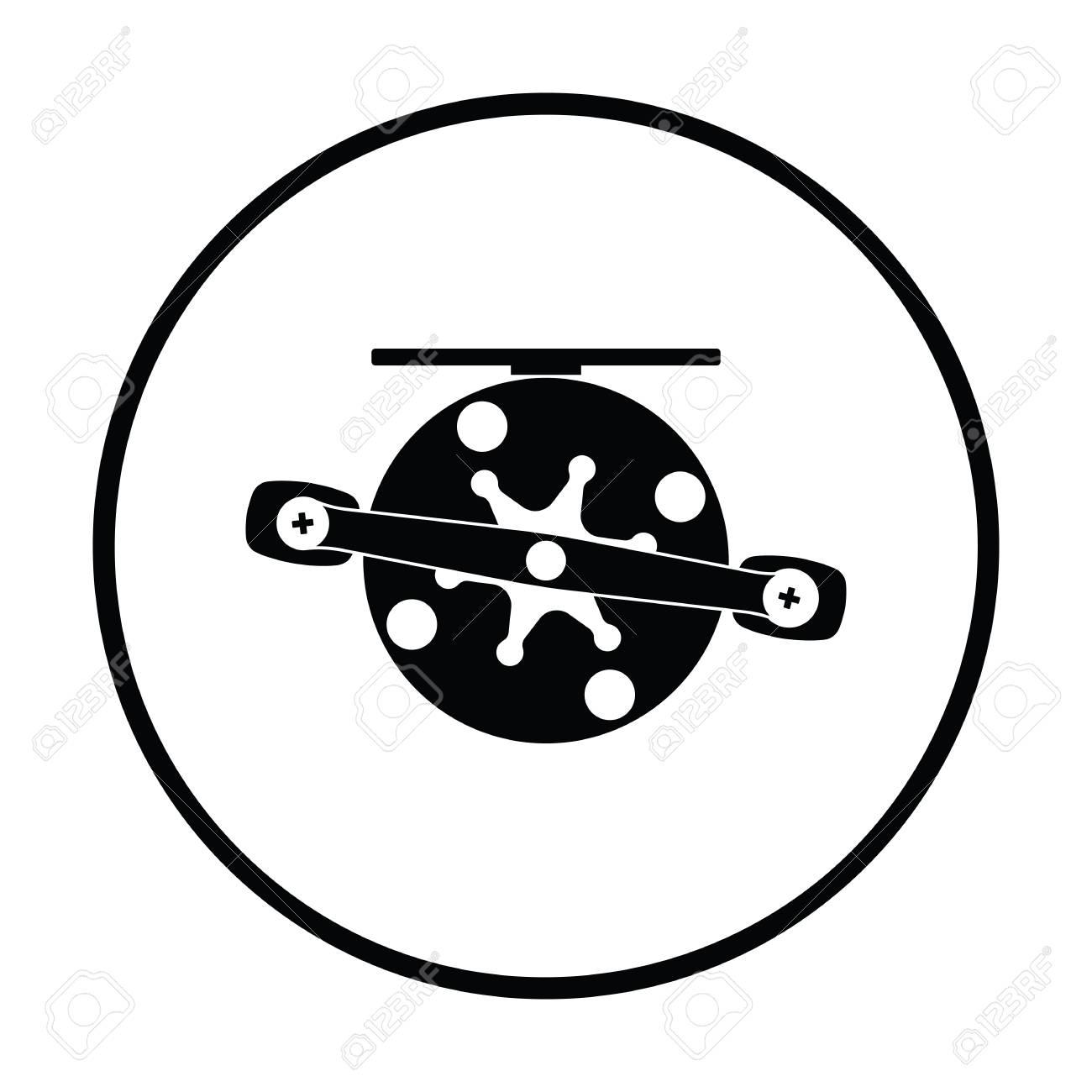 Icon Of Fishing Reel Thin Circle Design Vector Illustration