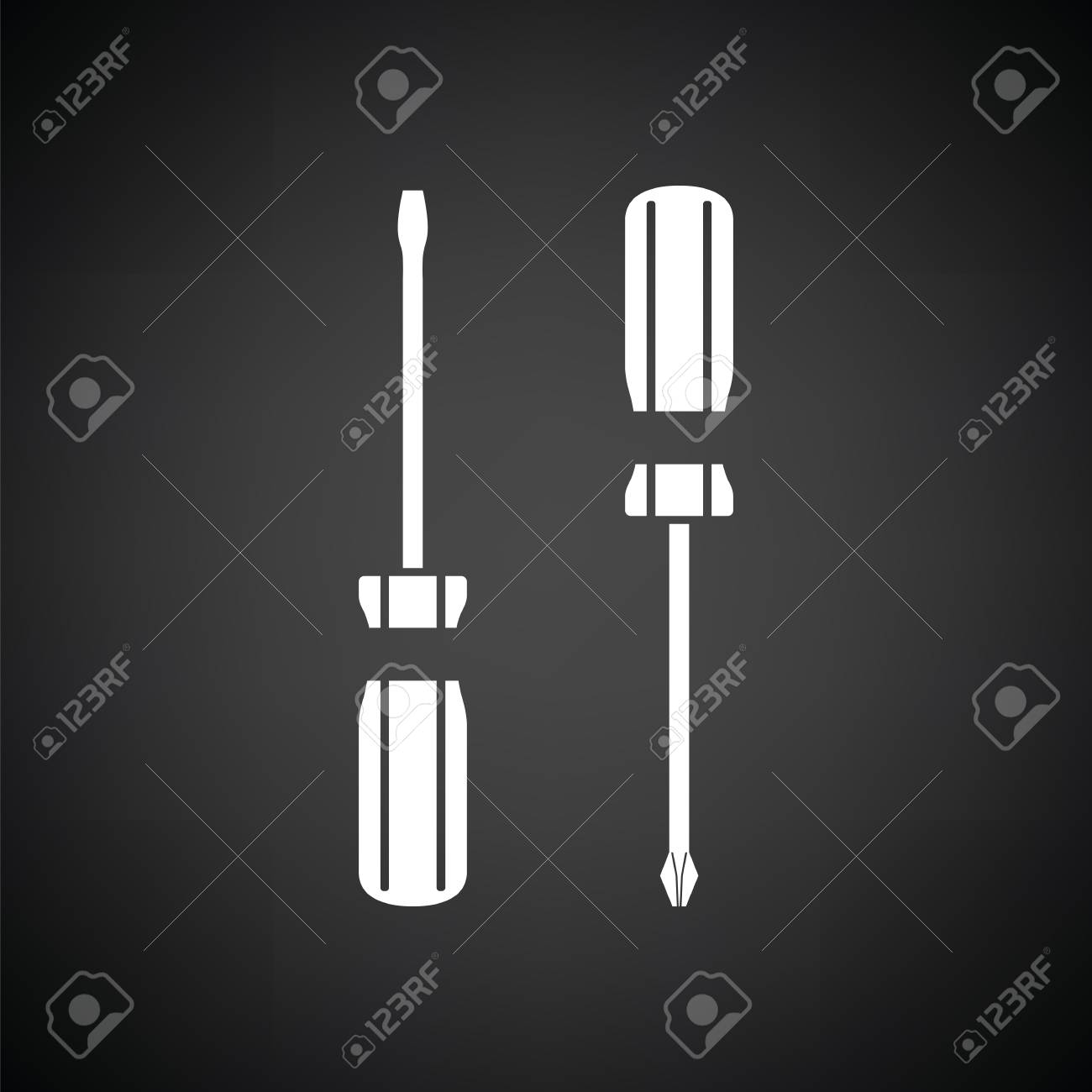 Screwdriver icon. Black background with white. Vector illustration. - 107591318