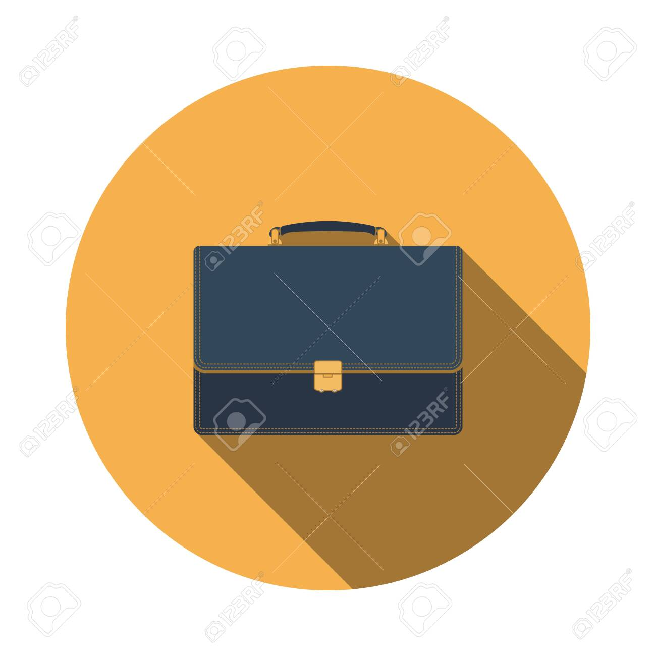 Suitcase icon. Flat Design Circle With Long Shadow. Vector Illustration. - 123613481