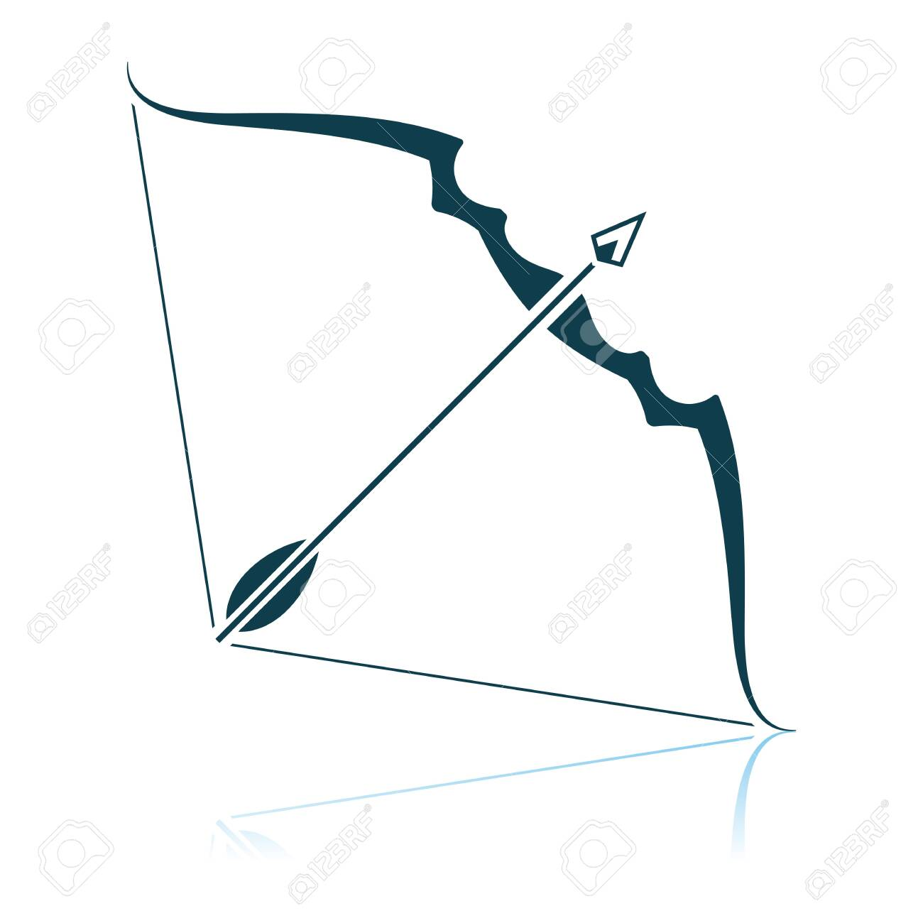 Bow And Arrow Icon. Shadow Reflection Design. Vector Illustration. - 122724467