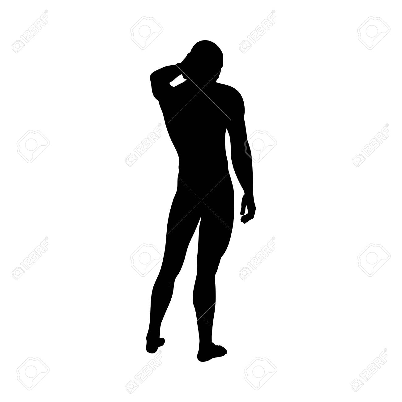 Standing Pose Man Silhouette. Very smooth and detailed. Vector illustration. - 128521090