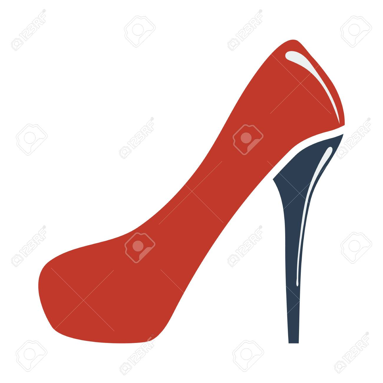 Female Shoe With High Heel Icon. Flat Color Design. Vector Illustration. - 154512993