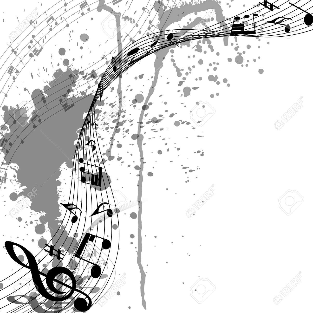 Musical Design From Music Staff Elements With Treble Clef And Notes On Trasparent Grunge Background With Copy Space. Shadow With Transparency; Elegant Creative Design Isolated on White. Vector Illustration. - 166074059