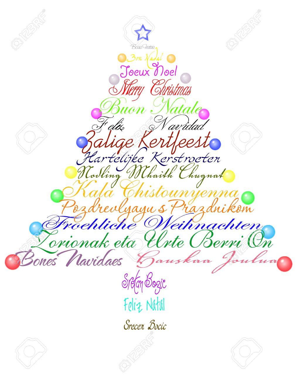 Christmas tree made with the phrase Merry Christmas in several languages. Stock Photo - 10988871