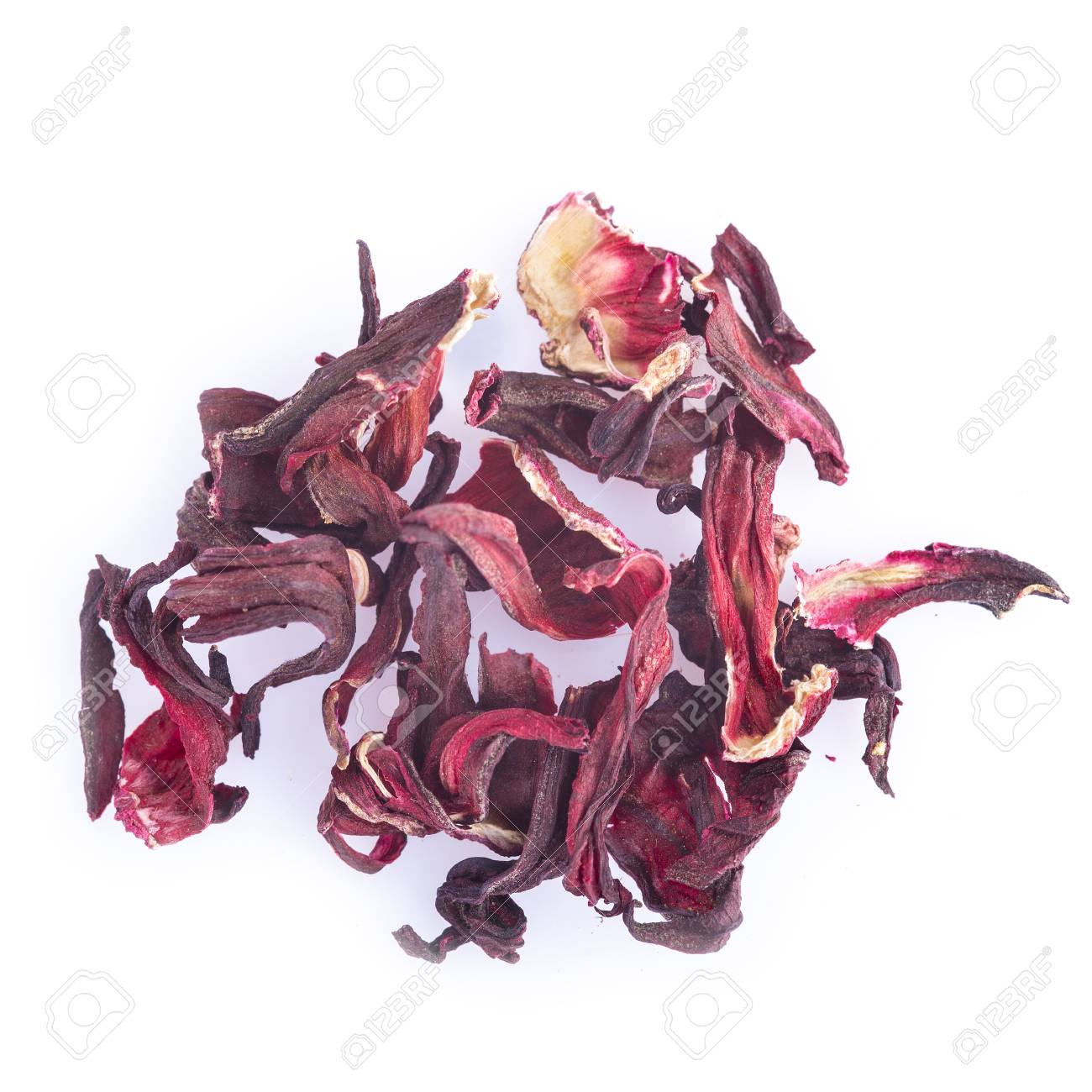 Dried Hibiscus Flowers Isolated On A White Background Stock Photo