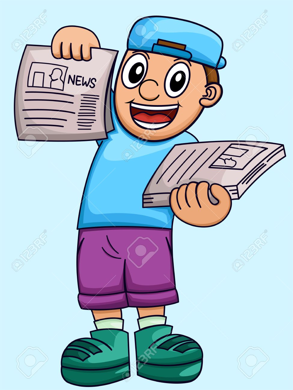 cartoon illustration of a boy selling newspaper royalty free
