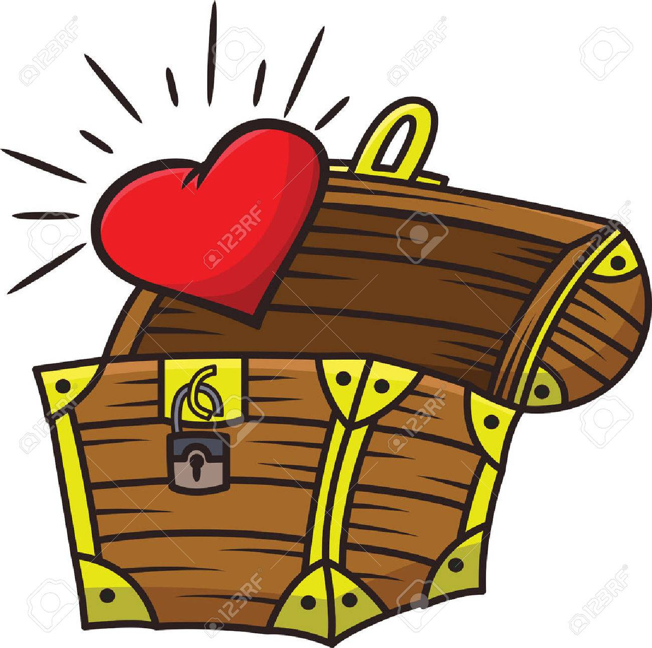 heart coming out of the treasure chest cartoon illustration isolated rh 123rf com treasure chest vector png treasure chest vector clipart