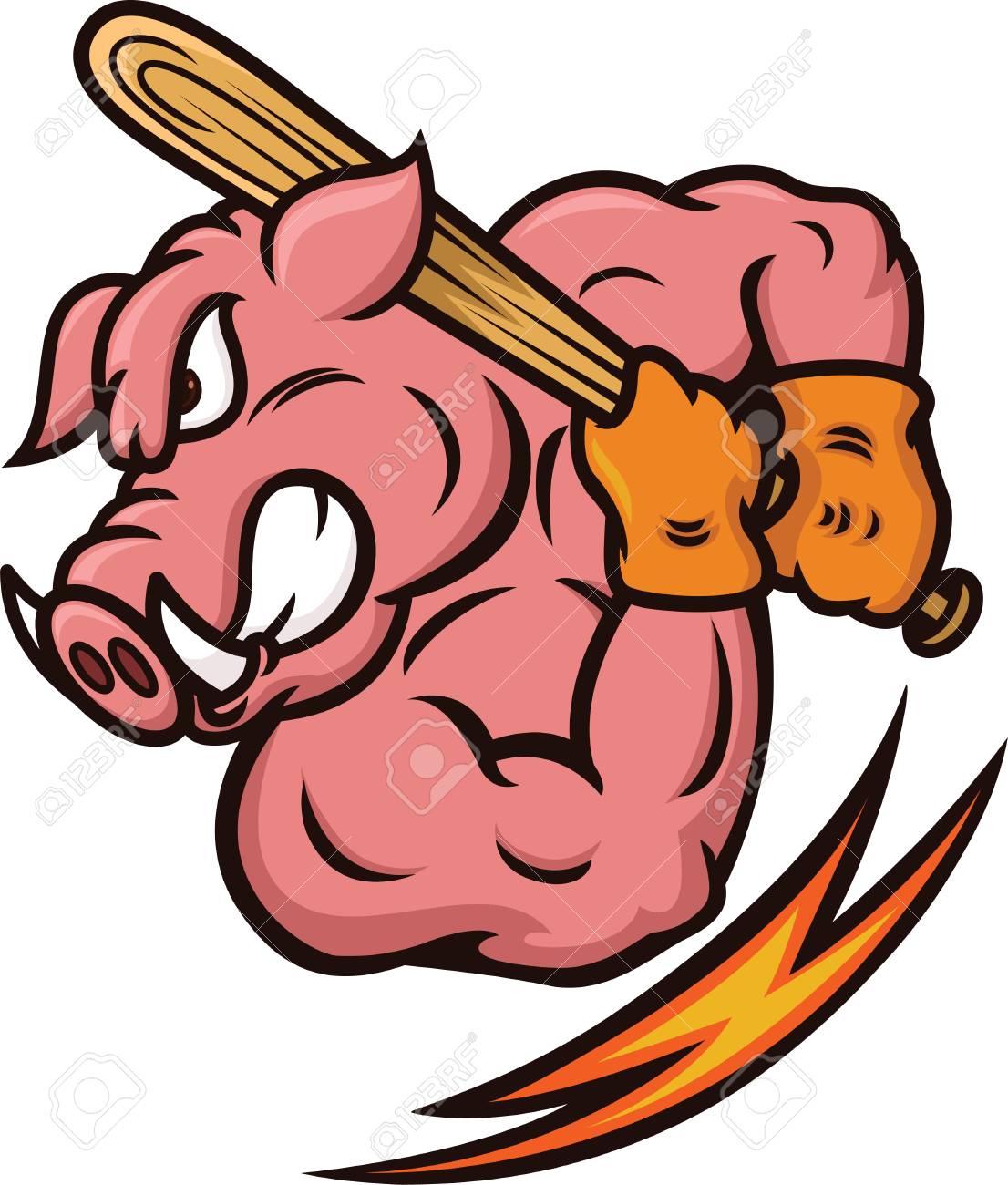 strong wild boar baseball player with baseball bat cartoon rh 123rf com Baseball Bat Decal Baseball Bat Logo Designs