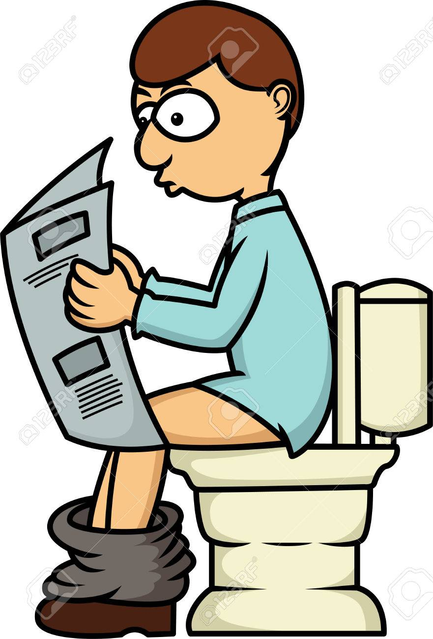 man reading newspaper in toilet cartoon illustration isolated