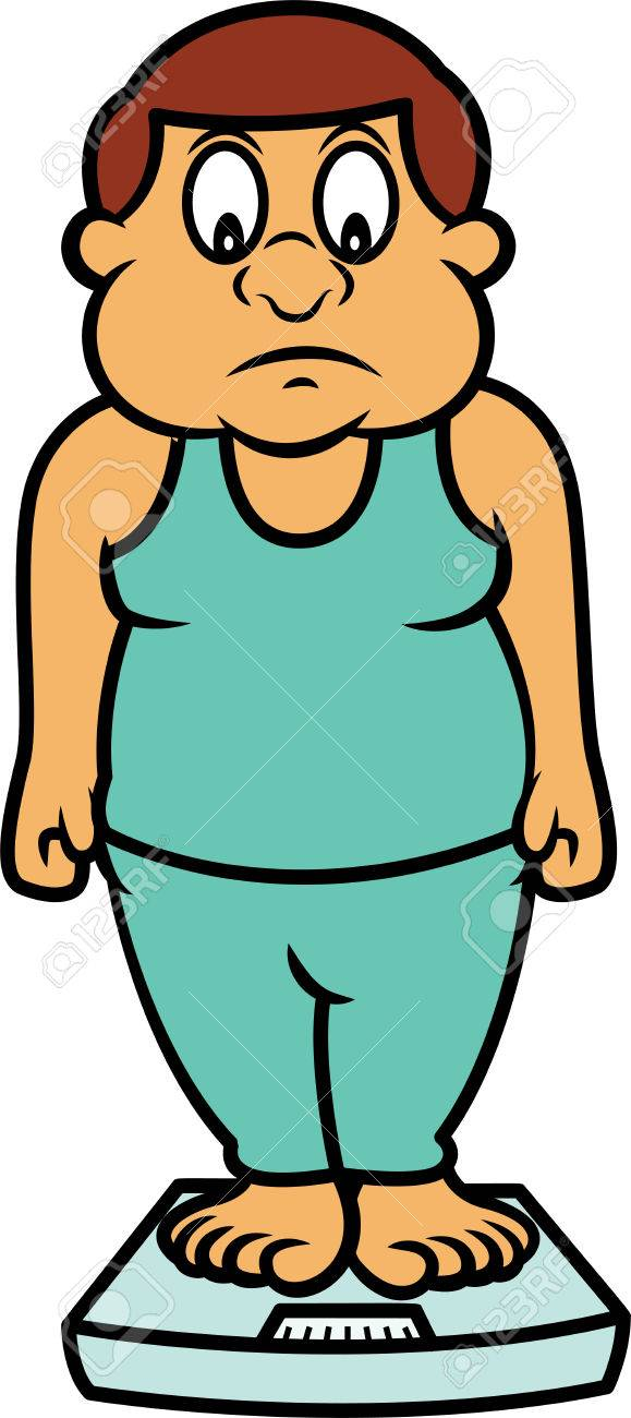 fat man standing on body weighing scale cartoon illustration royalty rh 123rf com fat man on beach clipart big fat man clipart
