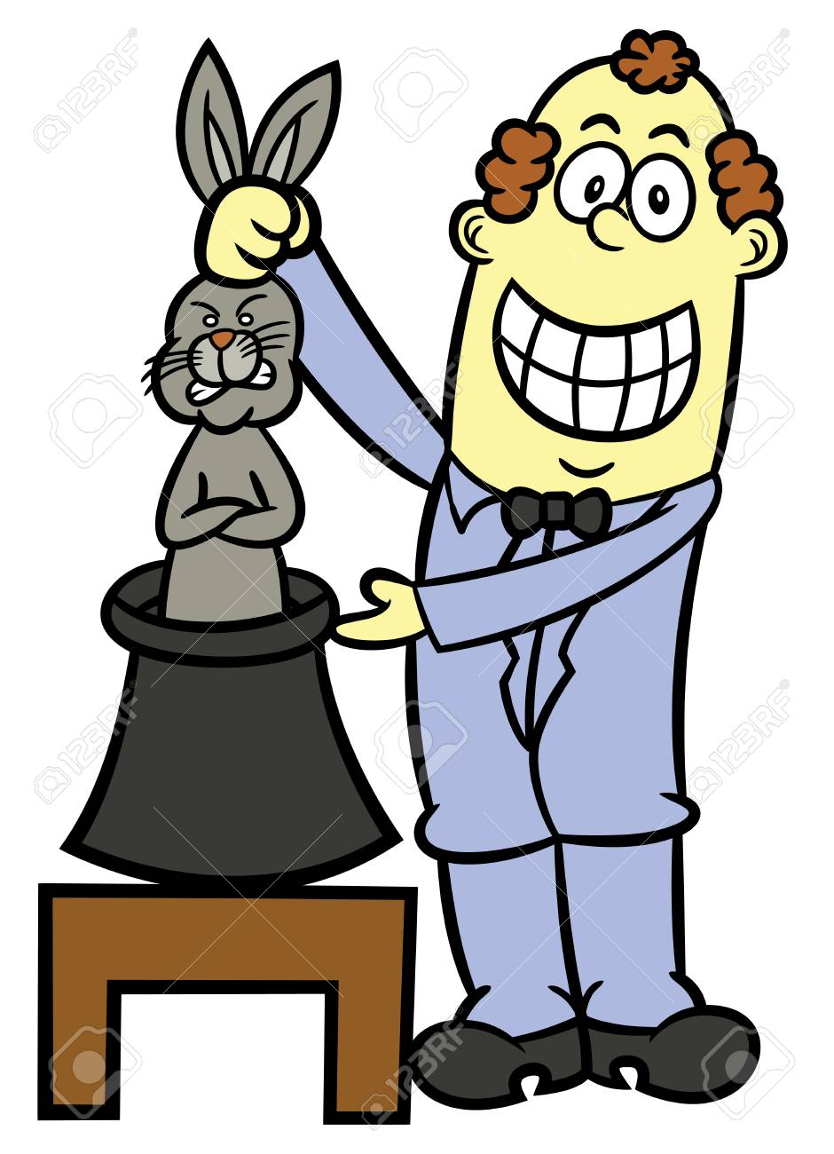 Magician Pulling Rabbit From Hat Cartoon Illustration Royalty Free  Cliparts, Vectors, And Stock Illustration. Image 68544338.