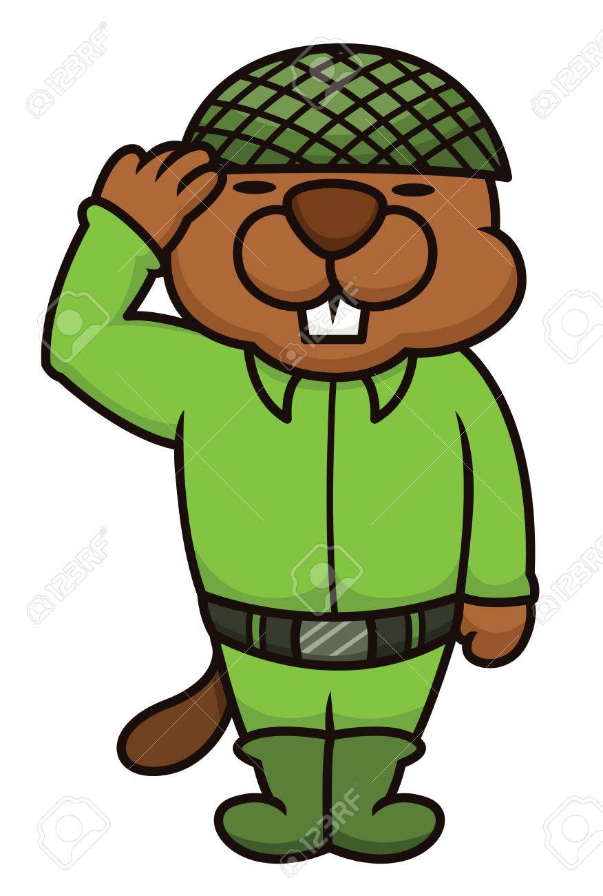beaver soldier salute cartoon royalty free cliparts vectors and