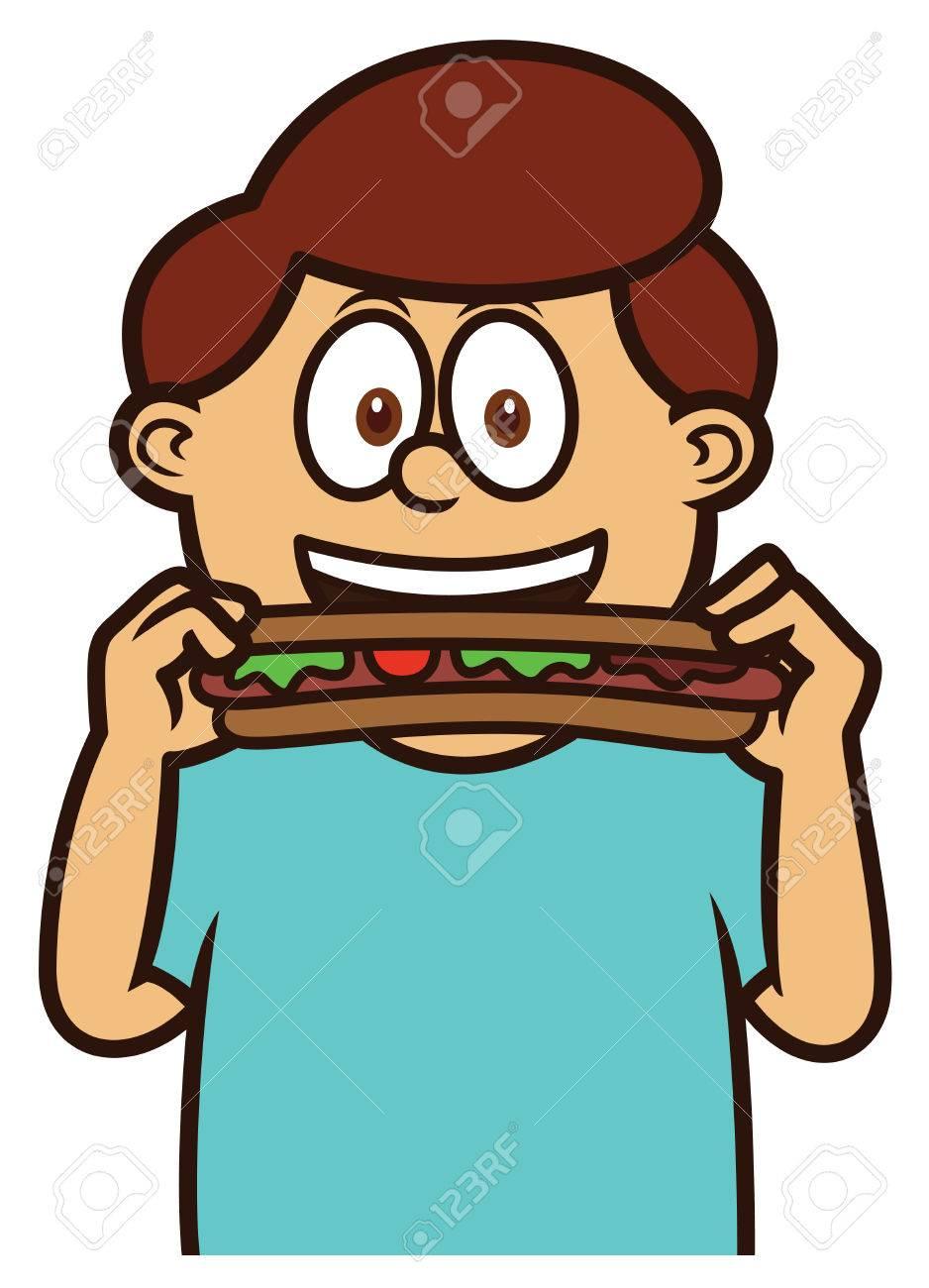 Niño Comiendo Hot Dog Ilustración De Dibujos Animados Ilustraciones