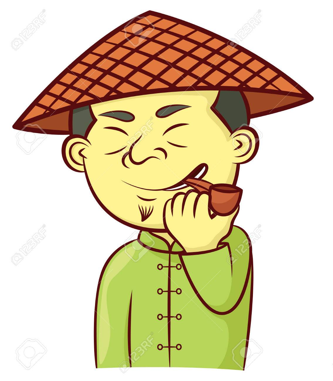Chinese Man With Hat And Smoking Pipe Cartoon Royalty Free Cliparts