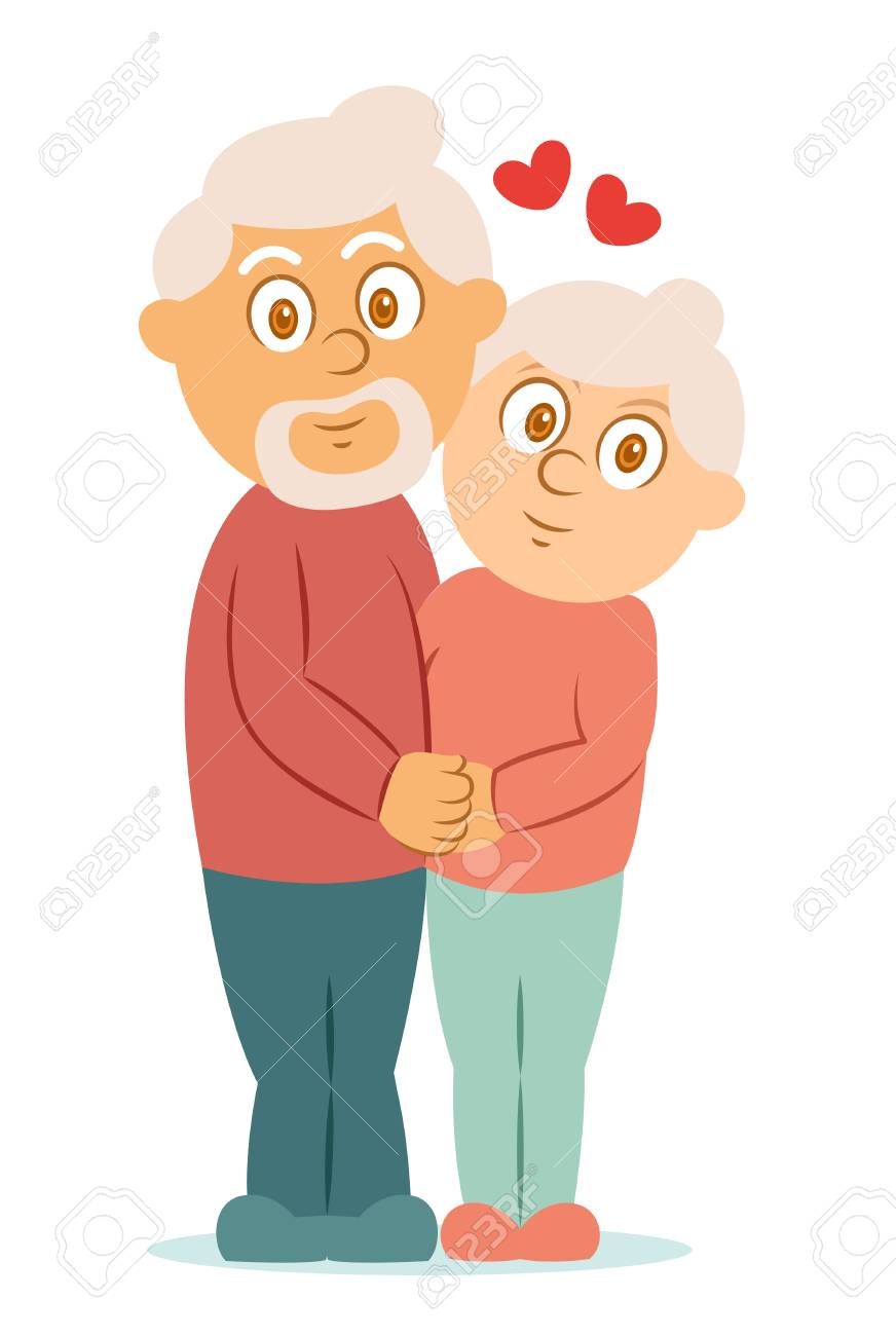 Romantic Elderly Couple Hugging Cartoon Character Vector