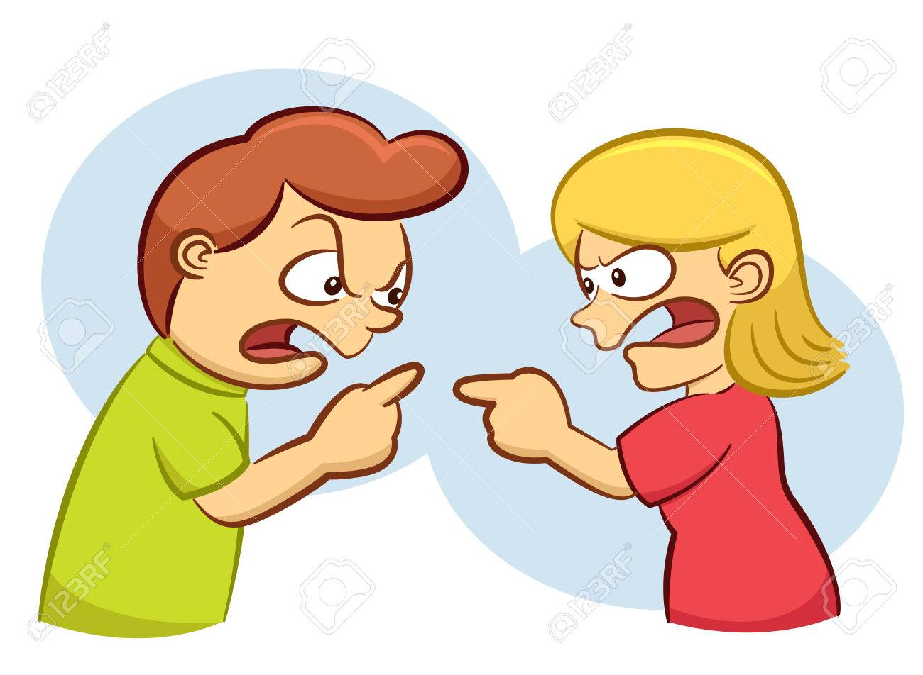 man and woman arguing with angry expression cartoon illustration rh 123rf com Arguing Cartoon no arguing clipart
