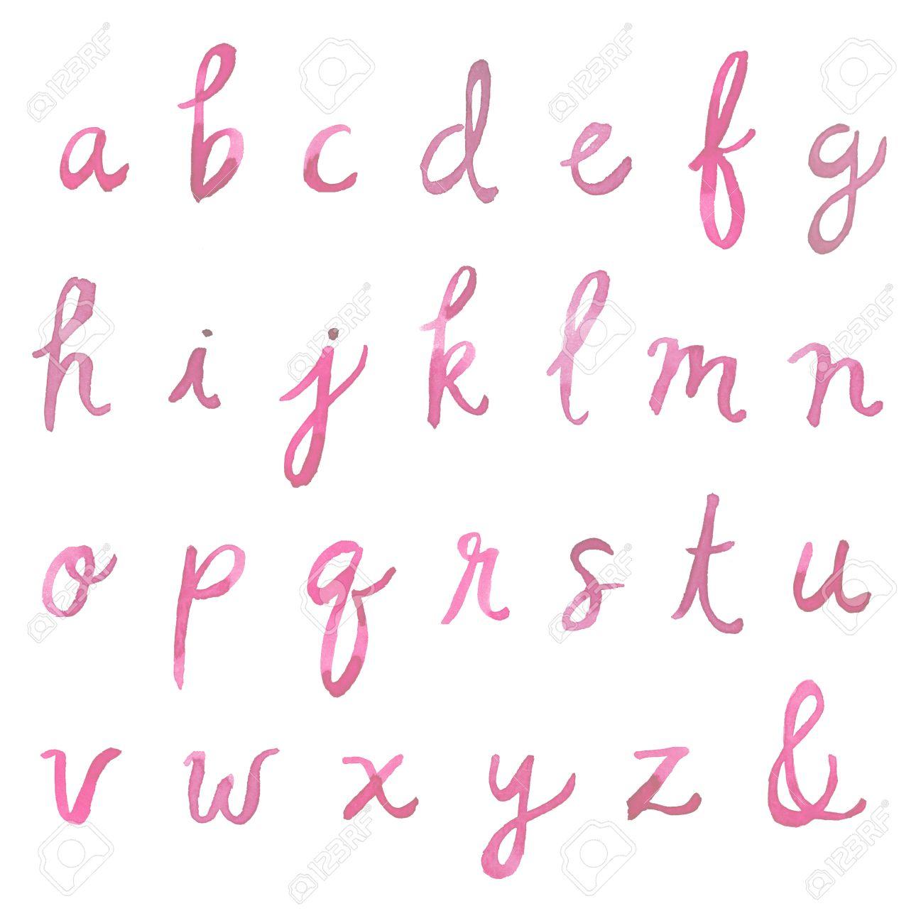 Hand Painted Watercolor Alphabet Font Letters Cursive Fo