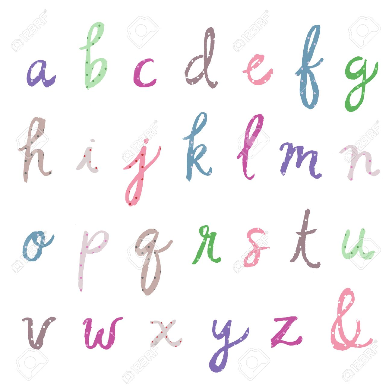 How to scrapbook letters - Digital Scrapbook Alphabet Letters Colorful Abcs Painted Cursive Alphabet With Polka Dots Stock Photo
