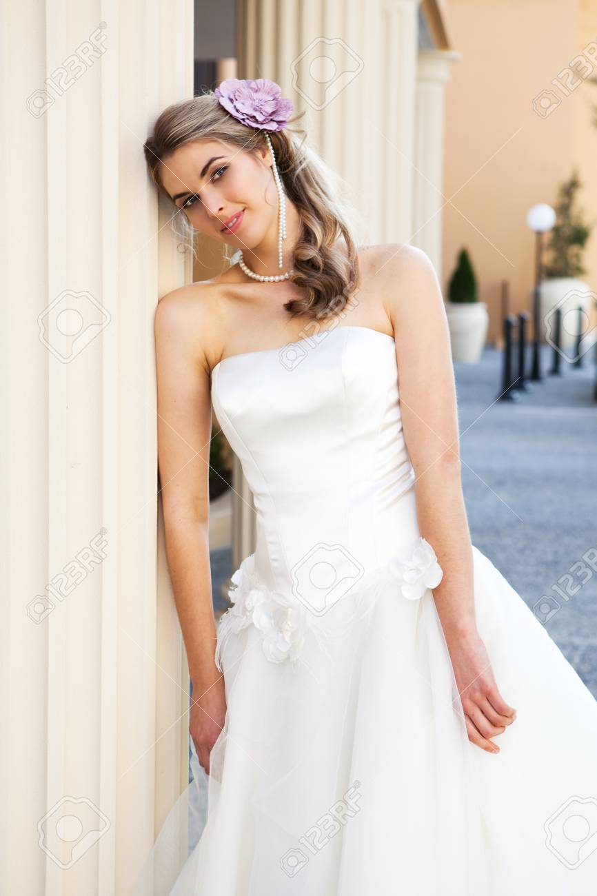 White Dress with Pearls