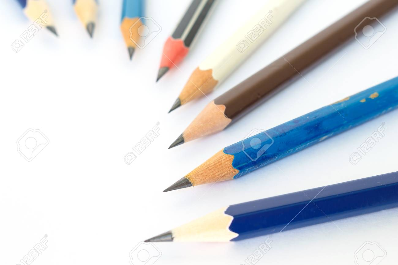 Pencil black blue brown tool art on white background