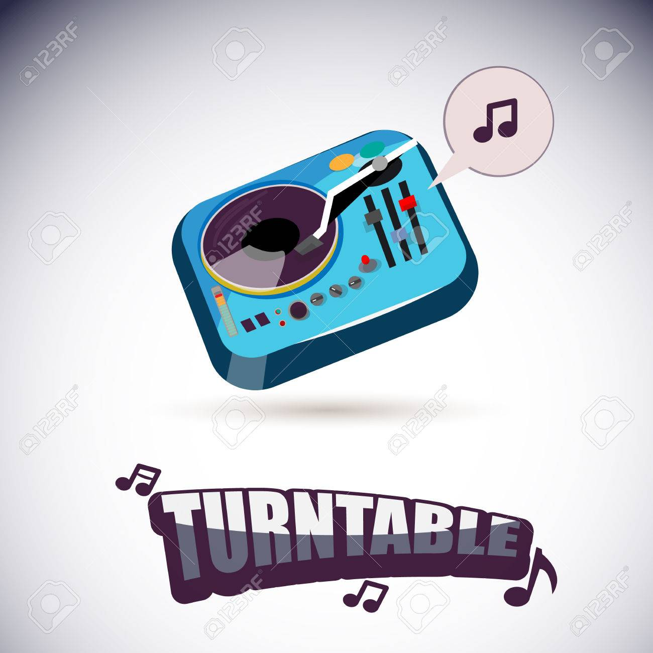Turntable with music letters vector illustration stock vector 54651082