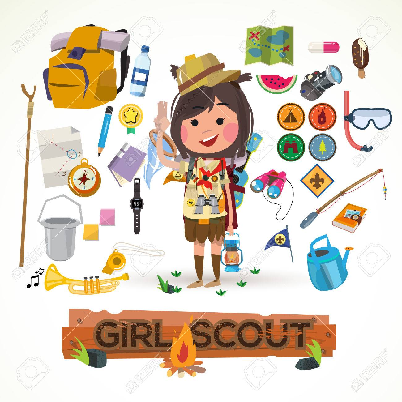 Girl Scout Character With Camping Equipment Concept