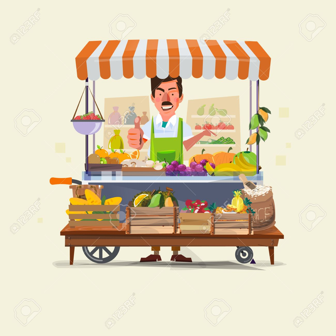 vegetables and fruits cart with seller character design. market cart. Green Carts sell only fresh fruits and vegetables. promote healthy eating concept - vector illustration - 56815374