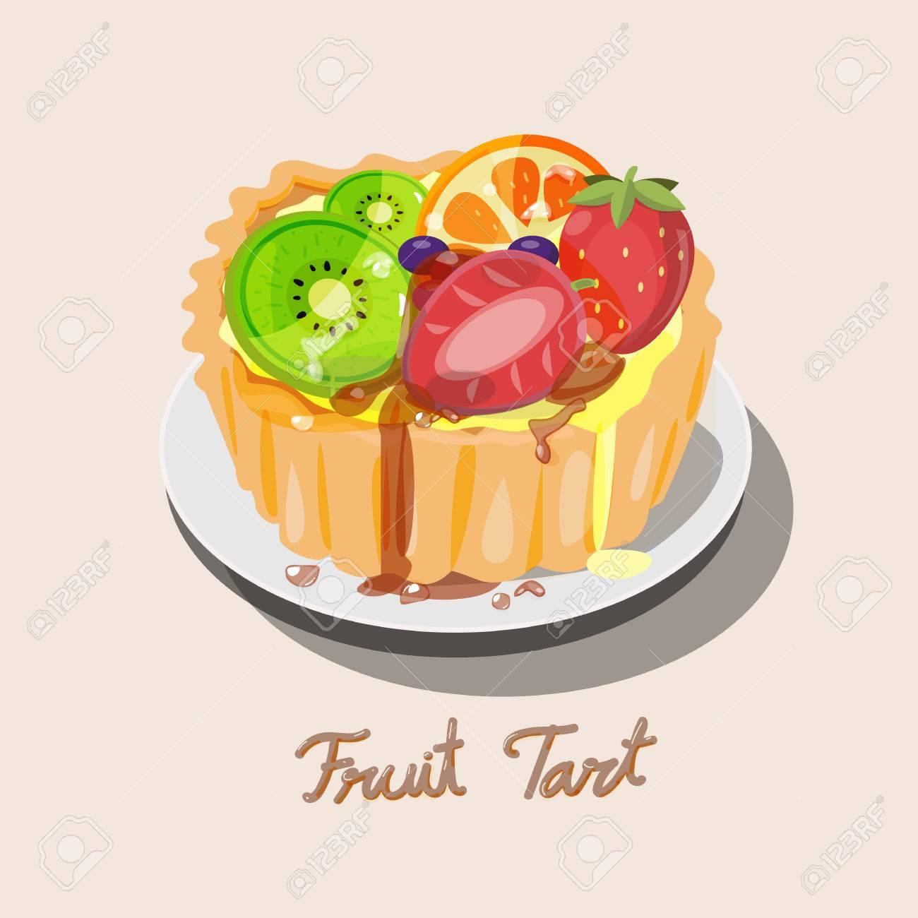 新鮮な果物キウイ ブルーベリー オレンジ キャラメルとイチゴのタルトかわいいキャラメル文字体裁デザインが付いてください デザートのタルト ベクトル図のイラスト素材 ベクタ Image