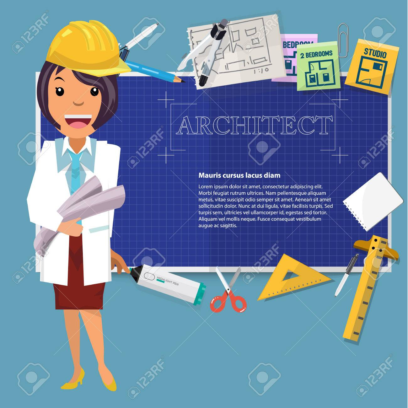 Architect girl with blueprint paper and icon to presentation architect girl with blueprint paper and icon to presentation vector illustration stock vector 67484579 malvernweather Image collections