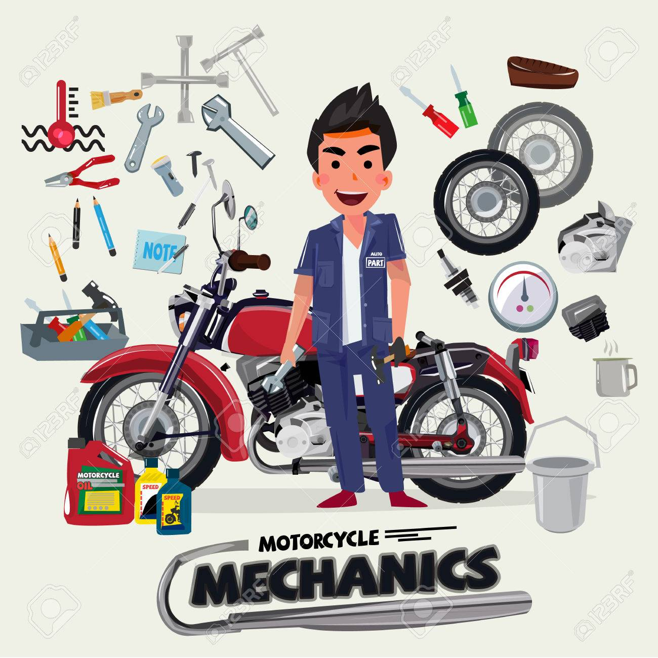 motorcycle mechanics with tool kit character design vector illustration stock vector 69145019