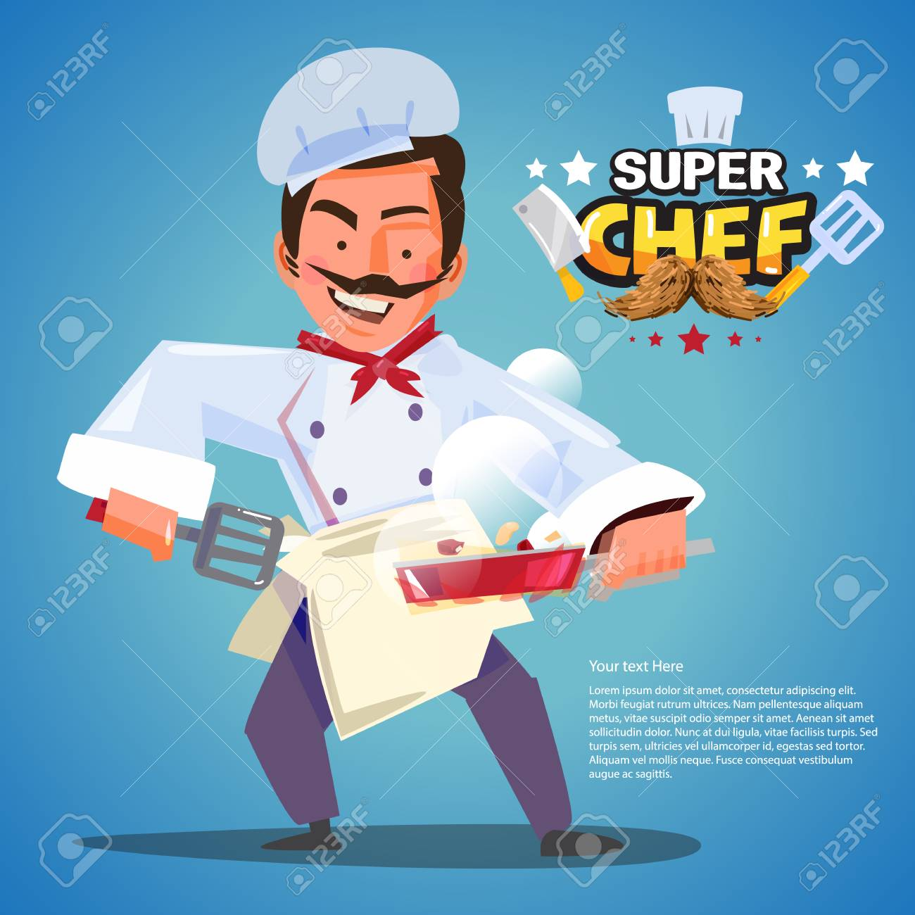 Chef In Cooking Action With Typographic Design. Character Design ...