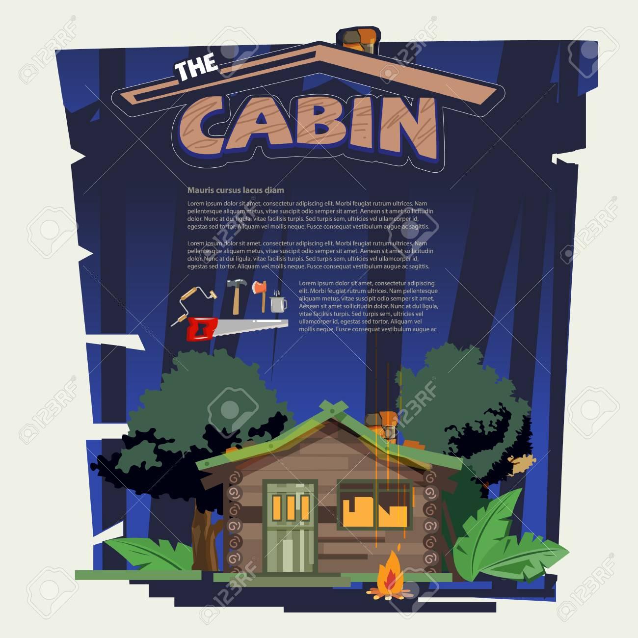 petite cabane de bois dans la forêt avec des outils qui construisent