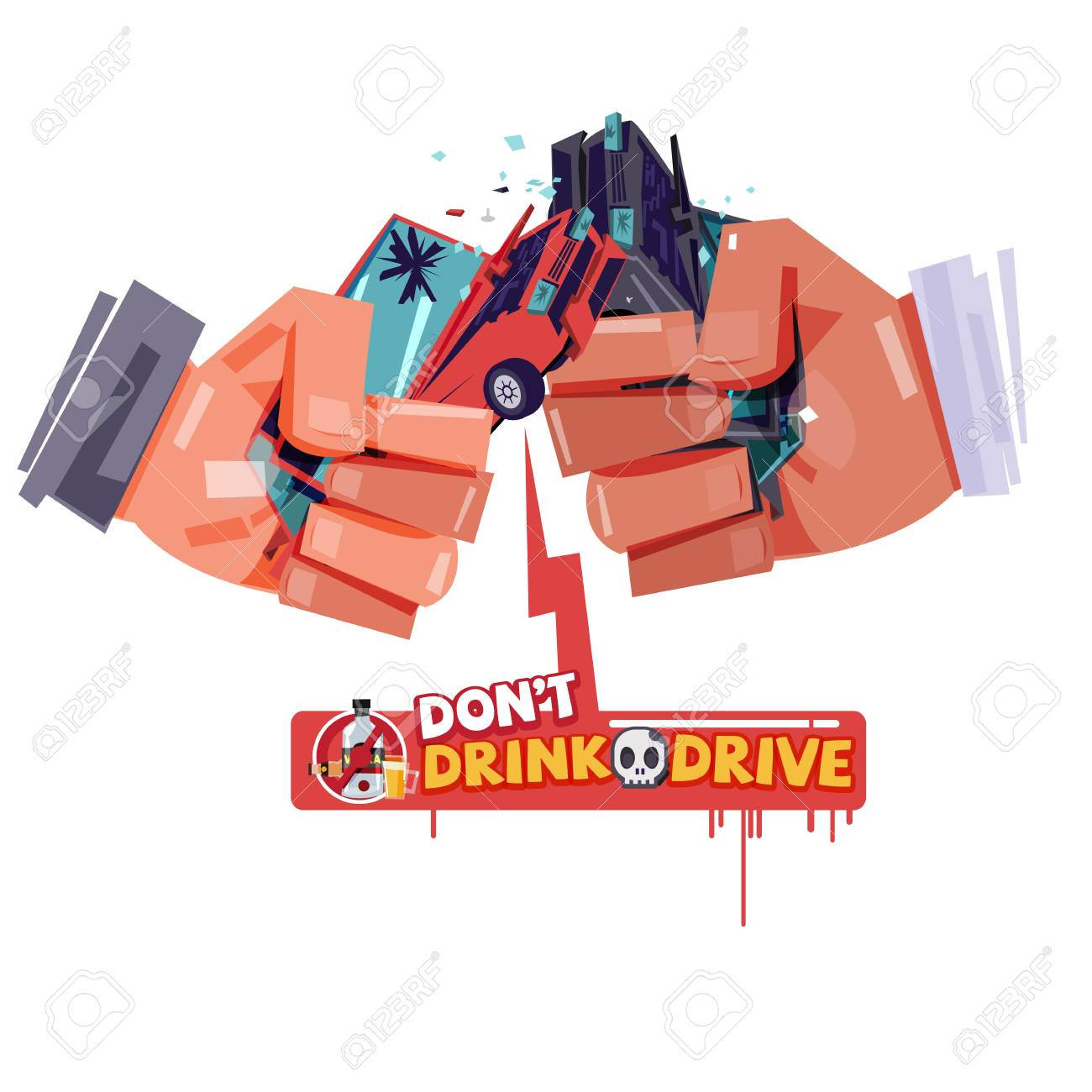 cheers hand with hitting car crash like a beer or alcohol glass. accident from drink and drive. don't drink and drive concept - vector illustration - 96849328