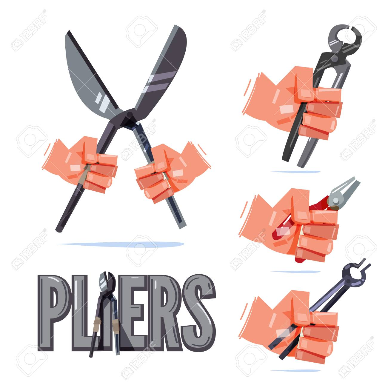 Hand holding type of pliers. hand and tool concept - vector illustration - 98039369
