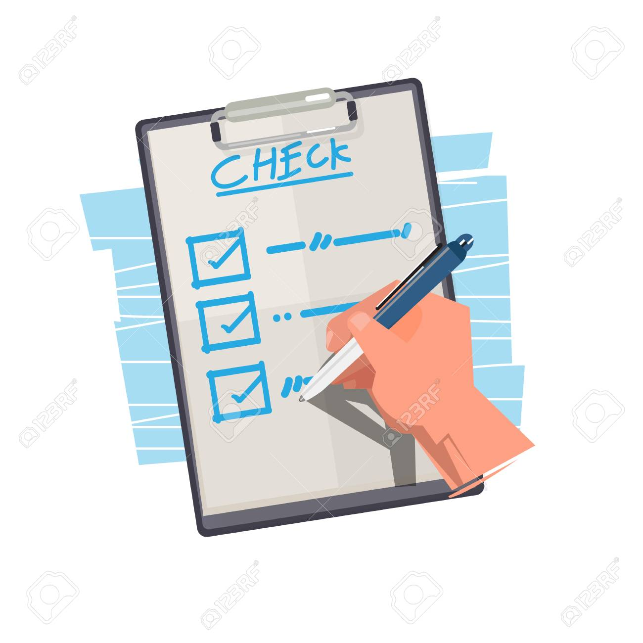 hand checking list on paper. things to do - vector illustration
