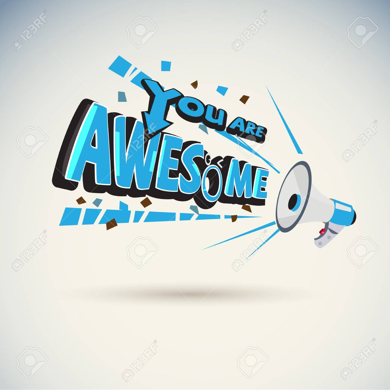 """Megaphone shouting out with """"YOU ARE AWESOME"""" typographic -vector illustration - 104184560"""