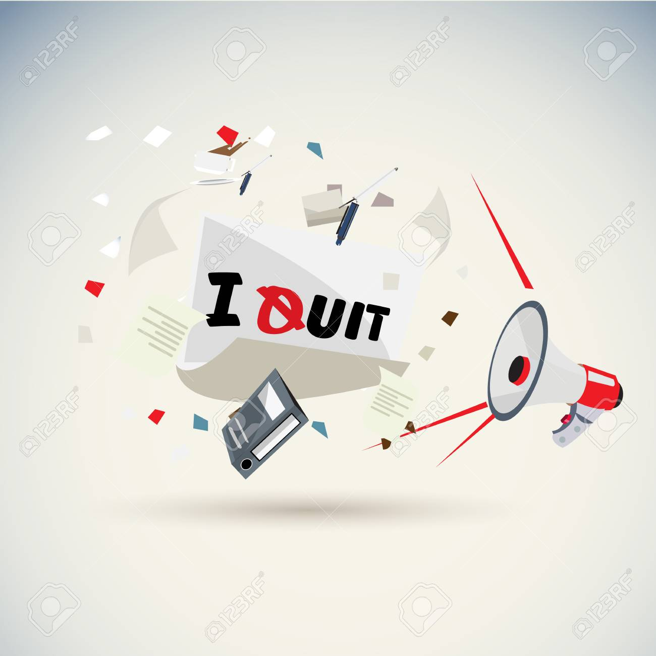 megaphone shouting out with i quit letter with blowing paper