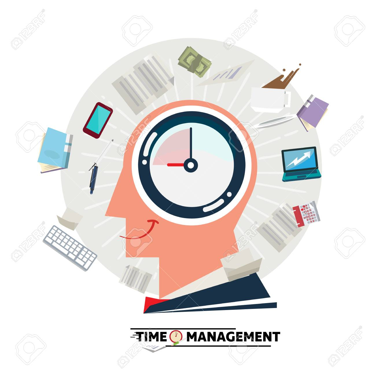 Businessman head with clock inside and blowing stationary and paper. Time management concept - vector illustration - 112203726